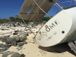 Washed up sailboat from Bahama Hurricane Mayaguana Island