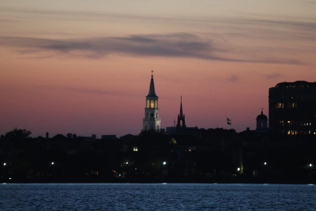 Charleston Church Photo at Sunset From Harbor